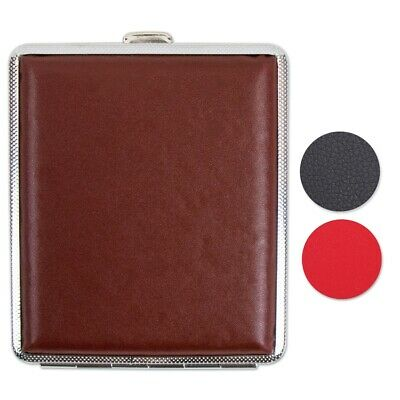FAUX LEATHER CIGARETTE TIN Roll Up King Size Straight Ciggy Pocket Storage Case • 3.25£