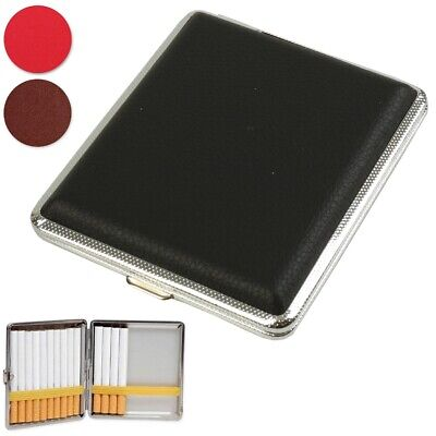 CIGARETTE CASE Red Black Tan Leatherette Tobacco Cigar Storage Protection Tin UK • 3.25£
