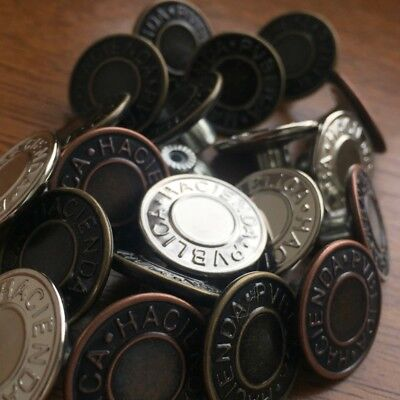 20mm (approx) No Sew Hammer On Denim Jean Buttons X 10. Silver, Bronze Or Copper • 1.95£