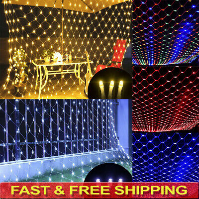 LED String Fairy Lights Curtain Net Mesh Waterproof Christmas Tree Party Outdoor • 11.99£