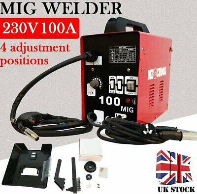 Portable Gasless MIG Welder 100 Amp Auto Flux Wire Feed Welding Machine 240V Kit • 116.99£