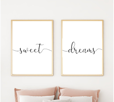 Home Wall Art Set Of 2 Typography Prints - Sweet Dreams Prints - Home Gifts A4 • 6.49£