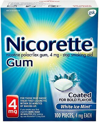 $ CDN155.20 • Buy Pack-4  4mg Nicotine Gum, Coated White Ice Mint 100 Pieces Gum Coated EX 04/22