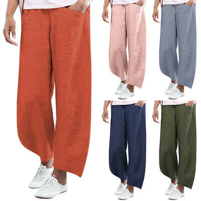 AU22.59 • Buy Womens Lady Loose Trousers Summer Casual Wide Straight Leg Solid Pants Yoga Plus