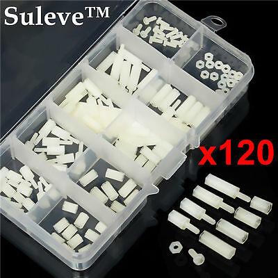 $4.25 • Buy 120 M2 Male-Female Spacer Nylon White Hex Screw Nut Stand-off PCB Assortment Kit
