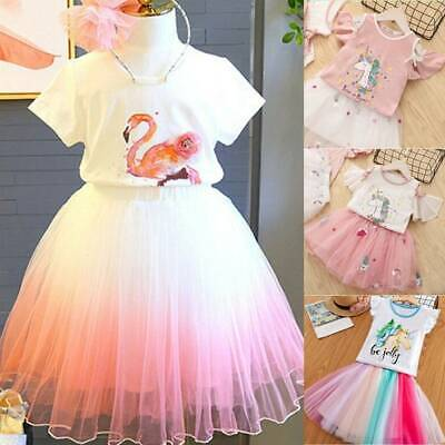 AU19.49 • Buy Summer Girl Unicorn Tops T-shirt Outfit Set Kids Party Tulle Tutu Printied Dress