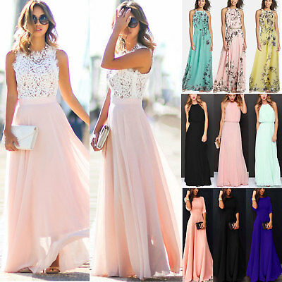 AU23.09 • Buy Women's Ladies Summer Formal Maxi Dress Wedding Evening Casual Gown Long Dresses