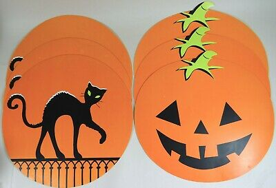 $ CDN33.01 • Buy Vtg Halloween Placemat Lot 6 Pumpkins Black Cats Moon Padded Rubber Large 15 In