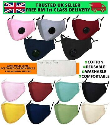 Unisex Cotton Fabric Face Mask Washable Reusable Air Valve & PM2.5 Filters Adult • 3.49£