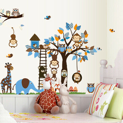 Kids Bedroom Jungle Animal Owl Monkey Wall Stickers Removabl Mural Decal Nursery • 7.14£