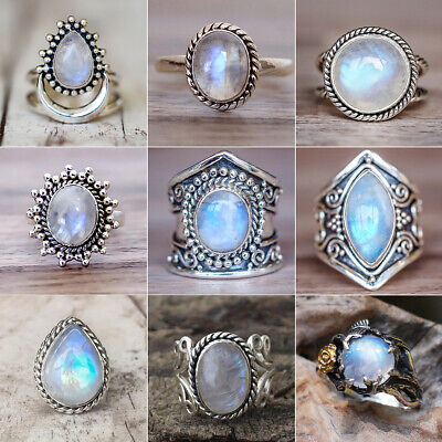 AU3.49 • Buy Ancient Silver Ring White Fire Opal Moon Stone Wedding Engagement Women Jewelry