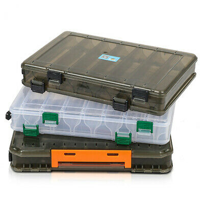 Double Sided Fishing Lure Bait Tackle Storage Box Plastic Box12/14 Compartment~ • 7.89£