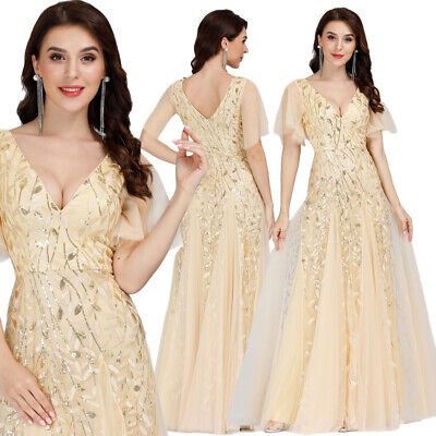 Ever-Pretty Long Wedding Dresses Gold Bridesmaid Evening Dresses Party Cocktail • 26.99£