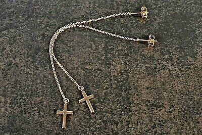 Stunning Rose Gold Plated Alloy Long Chain 4  Cross Stud Earrings  • 2£