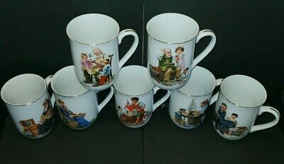 $ CDN46.97 • Buy Set Of 7 Norman Rockwell Museum Coffee Mug Tea Cups Vintage 1982 Gold Trim EUC