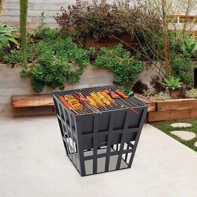 Black Fire Pit BBQ Grill Square Log Patio Garden Heater Outdoor Table Firepit UK • 28.95£