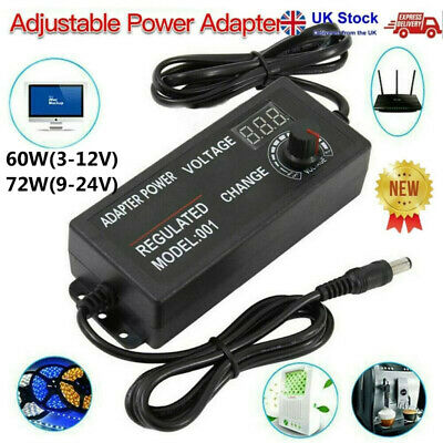 3V-24V AC/DC Electrical Power Supply Adapter Charger Variable Voltage Adjustable • 9.59£