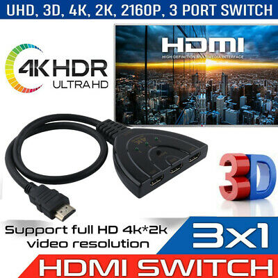 3 Port HDMI Splitter Cable 4K/1080p  Multi Switch Adapter HUB Box For  HDTV PS3 • 3.48£