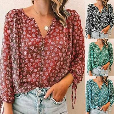AU23.19 • Buy Womens Floral Chiffon Long Sleeve V-Neck Blouse Basic Top Comfy Outdoor T-Shirt