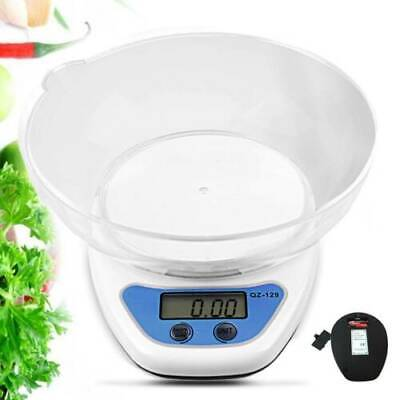 5kg Digital Kitchen Scales Electronic LCD Balance Scale Food Weight With Bowl UK • 6.99£