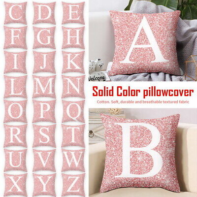 HOT Single Letter Printed Cushion Initials Cover Pillows Case Alphabet A-Z BAL • 2.42£