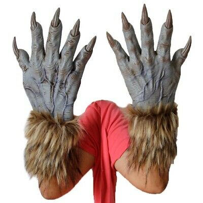 1 Pair Halloween Werewolf Wolf Paws Claws Cosplay Gloves Creepy Costume Party • 9.44£