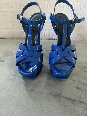 Blue YSL Tribute Heels, Size 5, Have Been Re-Heeled. • 88£