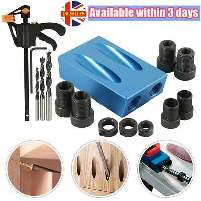 15pcs Woodworking Pocket Hole Jig Drill Guide Set Hole Puncher Locator Bit Tool • 14.39£