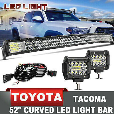 $97.19 • Buy For Toyota Tacoma 2005-2016 Roof 52  LED Curved Light Bar Combo+4  Pods Cube Kit