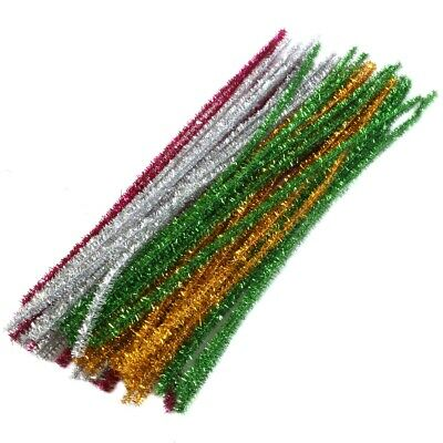 50x TINSEL GLITTER CRAFT STEMS 12 /30cm Pipe Cleaners Kids Xmas Art Card Making • 2.98£