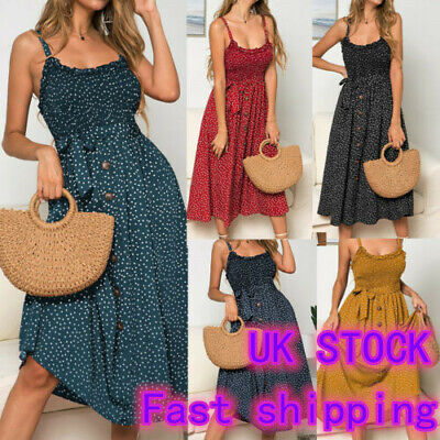 Women Summer Beach Ruffles Polka Dot Dress Ladies Stretch Sleeveless Sundress • 3.99£