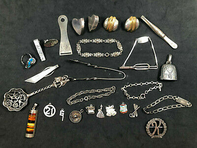 $ CDN330.27 • Buy Vintage Sterling Silver 179 GRAMS Lot Earrings, Bracelets, Charms Pendants +More
