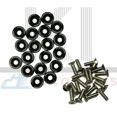 $8.88 • Buy Universal 20 PCS Black Aluminium Fender Washers/Bolt ENGINE BAY Dress-Up Kit