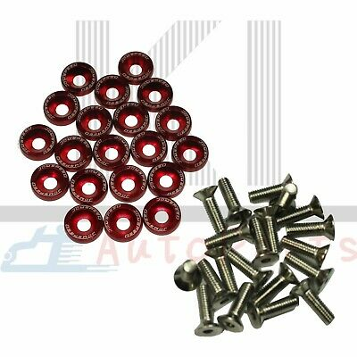 $8.88 • Buy Universal 20 PCS Red Aluminium Fender Washers & Bolt ENGINE BAY Dress-Up Kit
