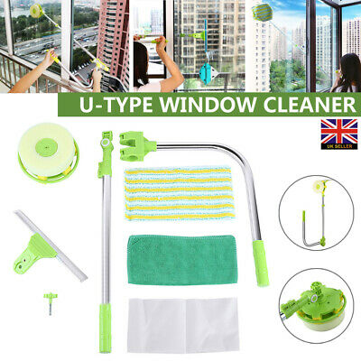 U Type Telescopic High Rise Window Glass Cleaner Dust Squeegee Cleaning Brush UK • 15.99£