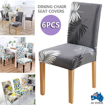 AU20.50 • Buy 6Pcs Dining Chair Seat Covers Slip Stretch Wedding Banquet Party Removable AU