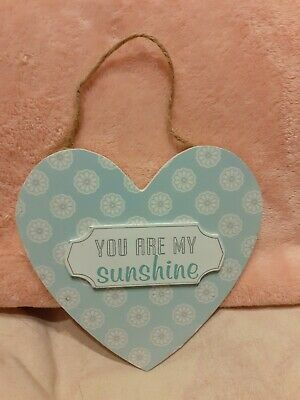 Wooden Heart Wall Plaque, You Are My Sunshine • 3.50£