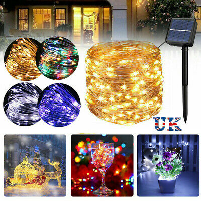 Waterproof LED Solar String Light Lights Copper Wire Fairy Outdoor Garden Party • 7.95£