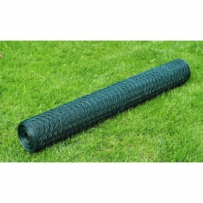 Chicken Wire With PVC Fence Galvanised Coating 25x0.5m Green Enclosure~ UK • 16.79£