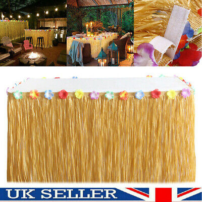 Tropical Hawaiian Luau Table Grass Skirt With Flower BBQ Party Decorations UK • 7.47£