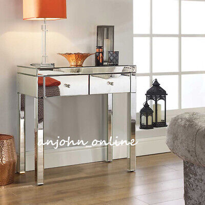 New Quality Mirrored Dressing Table Set Crystal 2 Drawers Vanity Table / Stool • 149£