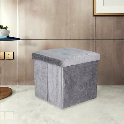 New Quilted Top Folding Storage Ottoman Seat Toy Storage Box Crushed Velvet • 11.59£