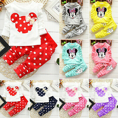 Baby Toddler Girl Boy Clothes Minnie Mouse Sweatshirt Tracksuit Long Pant Outfit • 13.39£