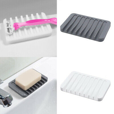 1PC Silicone Soap Dish Plate Holder Tray Anti-slip For Bathroom Kitchen UK • 2.82£