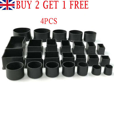 £3.99 • Buy UK 4Pcs Rubber Square Round Floor Anti Scratch Protect Cover Chair Feet End Cap