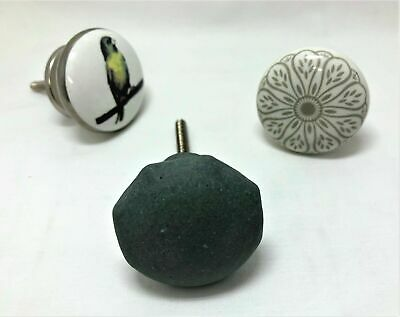 Choice Of 3 CERAMIC KNOBS Drawer Pulls Cupboard Handles Door Vintage Shabby Chic • 3£