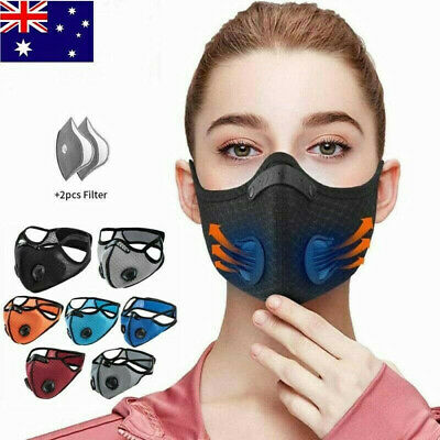 AU13.69 • Buy Reusable Washable Anti Pollution Face Mask PM2.5 Two Air Vent With Filter AU