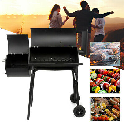 Mobile BBQ 2 Barrel Charcoal Smoker Grill Cooking Garden Outdoor Barbecue Wheels • 69.99£