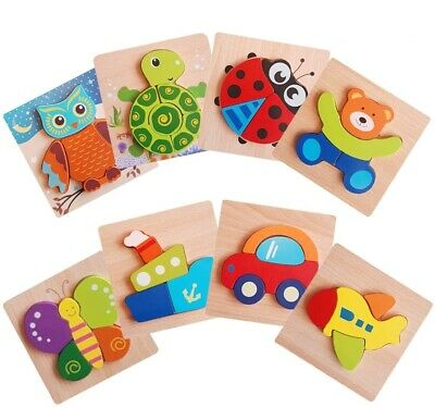£9.95 • Buy Wooden Animal Letter Puzzle Jigsaw Early Learning Baby Kids Educational Toys UK