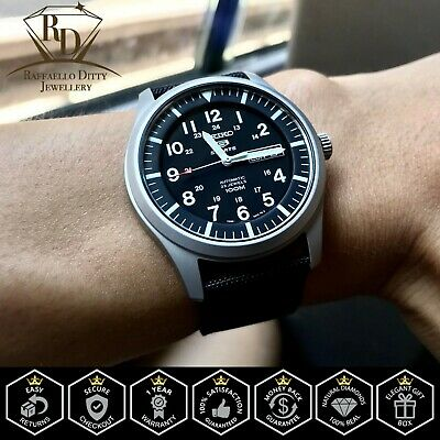 $ CDN163.49 • Buy Genuine Seiko 5 Sport Automatic Black Canvas Strap Men's Watch SNZG15 SNZG15K1
